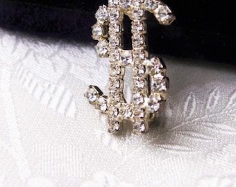 Vintage Rhinestone Dollar Sign Brooch Money Pin Currency Symbol Pin Novelty Gag Bankers Gift