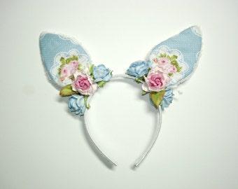 Blue Bunny Headband,Easter,Easter Headband,Bunny Ears,Girl Headband,Women Headband,Lolita,Fairy kei,Harajuku,Hime,Gift For her,Mori kei