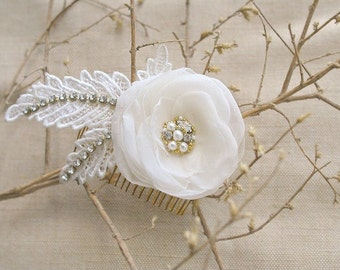 Ivory Bridal Hair Flower, Wedding Hair Comb, Ivory Lace Hairpiece, Bridal Flower Hair Accessories, Ivory Head Piece, Lace Comb for Bride