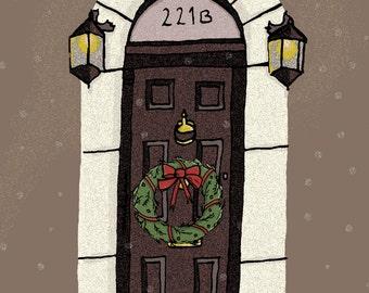 Sherlock Holmes Christmas Card 221B Baker Street Christmas Card Geeky Card Book Christmas Card