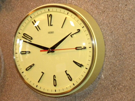 metamec yellow wall clock metamec kitchen wall clock