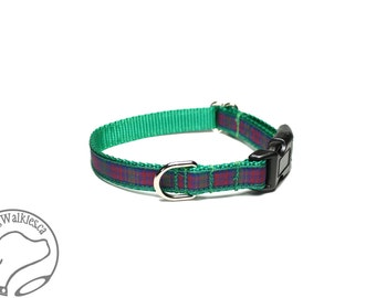 "NEW width - Lindsay Clan Tartan Small Dog Collar - Thin Dog Collar - 1/2"" (12mm) Wide - Green Plaid - Choice of collar style and size"