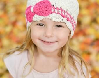 girls winter hat, hat for girls, baby hat, crochet baby hat, girls hat, baby girl's hat, little girls hat