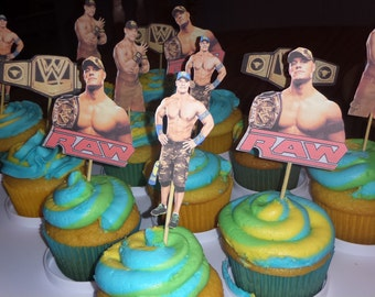 Set of 12 John Cena Cupcake Toppers, WWE John Cena Birthday Party Decoration