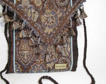 Brown Bag Shoulder Bag Small crossbody bag Upcycled fabric bag Gift for Her Hipster Bag