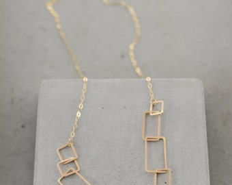Rectangle Chain Necklace, geometric link necklace, statement necklace, modern geometric jewelry