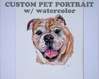 Custom Gouache watercolor on paper pet portrait Illustration