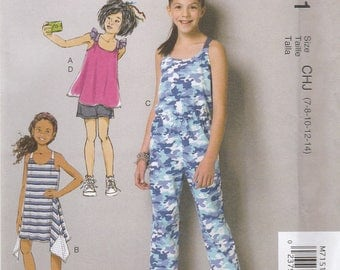 Girls' Jumpsuit, Sundress, Top & Shorts Pattern McCalls 7151 Sizes 7 - 14 Uncut