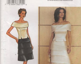 Dramatic Top & Skirt Pattern Butterick 3859 Sizes 12 14 16 Uncut