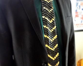 Scale Tie - Black w/ Mirror Gold, Arrow Pattern