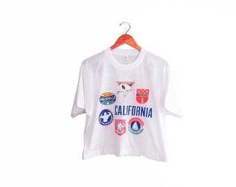 vintage t shirt / California / crop top / souvenir t shirt / 1990s California souvenir boxy fit white t shirt Small