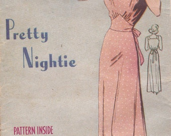 1940's Sewing Pattern - Weldons No 118 Pretty Nightie  Bust 36 inch, Factory Folded, unused