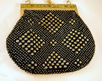 Black and Gold Beaded Vintage Purse / Vintage 50s Handbag with Gold Chain Strap / Gold Metal Evening Clutch