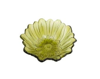 Vintage Avocado Green Glass Sunflower Candy Bowl Indiana Glass Co Depression Carnival Glass Lily Pons Summer Serving Dish