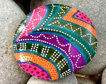 send in the clowns / painted rocks / painted stones / under the big top series / rock art / boho art / tribal art / hippie art /art on stone
