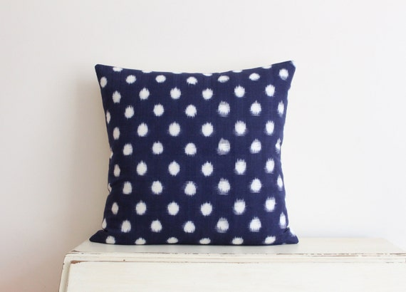 "SALE - Limited edition Indigo Ikat pillow cushion cover 20"" x 20"""