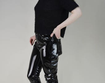 90s Black Fuzzy Short Sleeve Sweater Jumper M