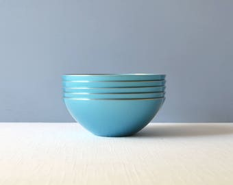 "Five Vintage Emalox Light Blue 5 3/4"" Aluminum Bowls"