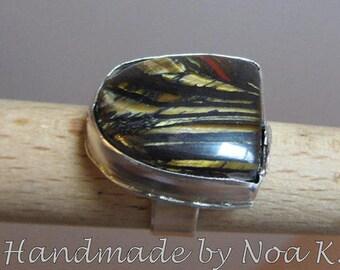 Tiger eye Iron ring  - Silver Gemstone Ring - Handmade ring - Large stone ring