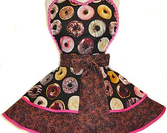 "READY TO SHIP-""National Donut Day"" Pinup/Diner Style Retro Apron -- A  Tie Me Up Aprons  2017 Exclusive!"