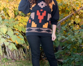 Vintage Black Sweater with Native Designs