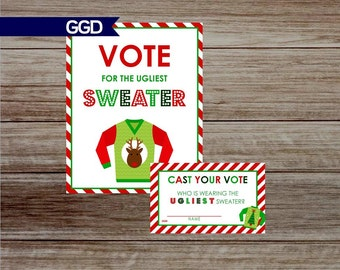 INSTANT DOWNLOAD Ugly Christmas Sweater Party Vote Cards and Sign, ugly christmas sweater party decor, ugly sweater, vote ballots