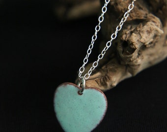 Valentines Necklace - Turquoise Love Heart Necklace - enamel necklace - love heart jewellery - heart pendant