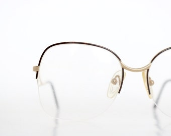 Vintage Coffee Drop Arm Rimless Wire Eyeglass Frames