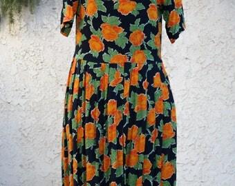Orange Roses on Black / Drop Waist Midi Dress / Passports Pier One Vintage 1990s / rayon boho beach maxi modest global indie batik