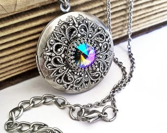 Victorian Gothic Locket Necklace Swarovski Crystal Pendant Necklace Victorian Gothic Jewelry