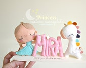 Princess Nursery Decor, Baby Name, Unicorn Nursery, Baby Name Plaque, Personalized Baby Name, Princess Dress, Baby Gift, Baby Shower Present