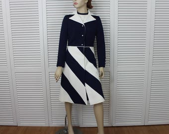 Vintage Lilli Ann 60s Navy Blue/White/ Set | Dress and  Coat | Rare Size Small