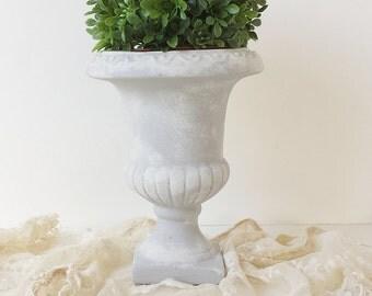 Boxwood Round Topiary Grey Vintage Urn Floral Arrangement Custom Design Garden Wedding French Farmhouse Cottage Shabby Chic Style Decor