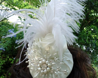 Ivory Brida Hat, Feather, Pearl Rhinestone Hat,  Feather Fascinator,Wedding Hat, REX15-230