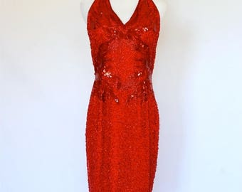 20% OFF SALE 80's Red Sequined Dress, Vintage Beaded Dress, Evening Dress, Red Dress, Formal Dress, Valentine's Day Dress