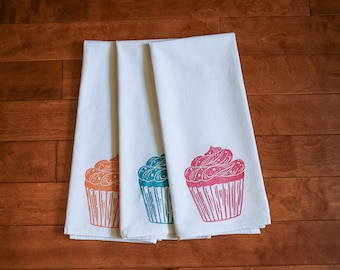 Ready to Ship, Cupcake Kitchen Towel, block print, pink orange or turquoise,  flour sack towel