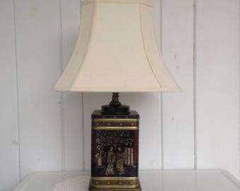 Vintage Frederick Cooper Chinese Asian Chinoiserie Tin Tea Canister Lamp ... shade not included