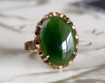 Art Nouveau 5.4ct Jade Engagement Ring, Antique 14k Gold Jade Anniversary Ring, Vintage 1920s Jadeite Ring, Handmade Art Deco Promise Ring