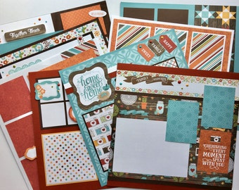 Scrapbook Page Kit 12x12 or Premade Family Friends Everyday 8 pages