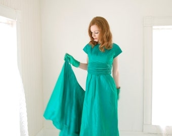 Vintage 1950s convertible dress, cyan green formal prom, S