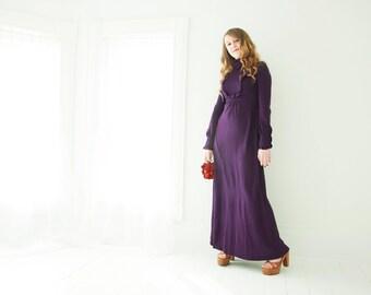Vintage purple maxi dress, long sleeve boho eggplant empire waist 1970s, XS S