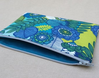 Knitting Notions Pouch, Small Zipper Bag, Blue Floral, Notions Bag
