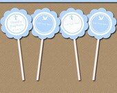 Blue Baptism Cupcake Toppers, Printable Christening Party Decor, EDITABLE Boy Baptism Tags, Religious Cupcake Toppers Instant Download I2