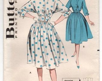 """1960's Butterick One-Piece Button Up Rockabilly Dress Pattern - Bust 32"""" - UC/FF - No. 9367"""