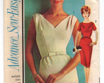 1960's Advance One-Piece Wiggle Dress with V-neck and Two Sleeve options Pattern - Bust 31""