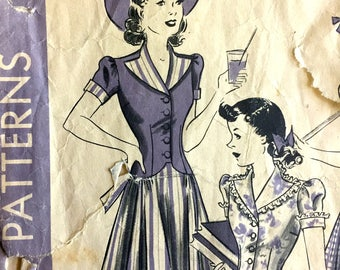 """1940's Hollywood One-Piece Dress with Tie Back Pattern - Bust 32"""" - No. 697"""