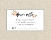Baby Shower Diaper Raffle Ticket Cards. Instant download. (floral A1)