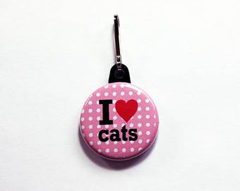 I Love Cats, Cat zipper pull, zipper pull, purse charm, backpack charm, Cat Lover, gift for her, stocking stuffer, cat rescue, pink (7560)