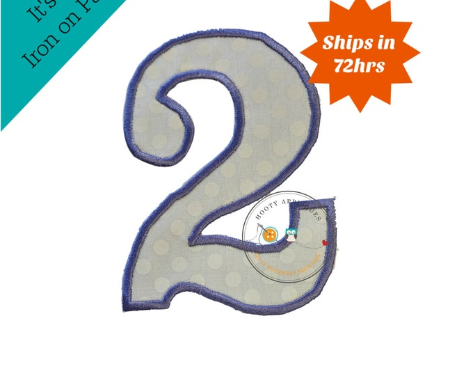 Large purple and white number 2 - iron embroidered fabric applique patch embellishment- ready to ship