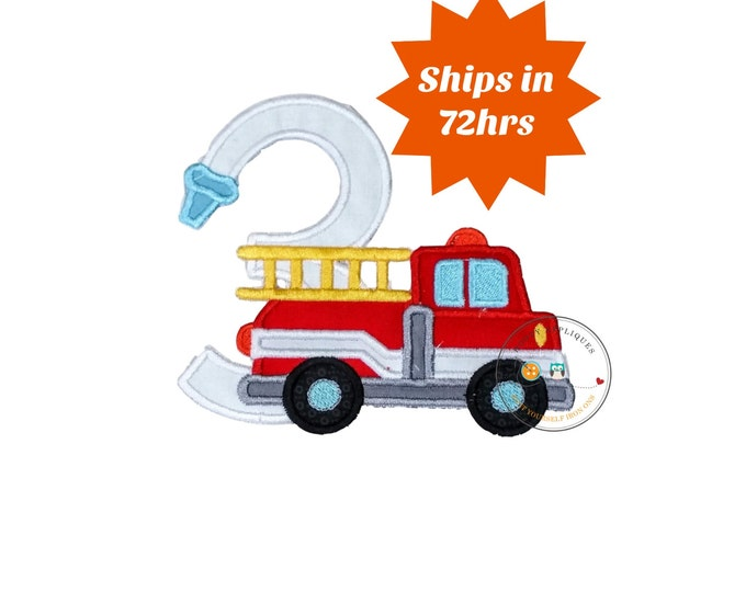 Fire truck birthday number 3 iron on patch, third birthday fireman embroidered applique, Fire hose birthday number three